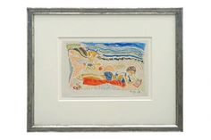 Crayon drawing of woman and child on beach by Michel Debieve (1931 - ) dated 1965. France, 1965