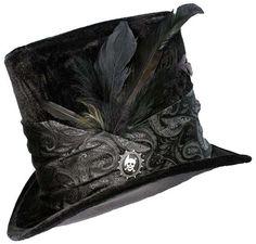 Tall Black Top Hat Gothic Skull Steampunk Gypsy by JenkittysCloset
