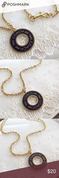 """Coach Dark Purple Station Disc Charm Necklace 🎀NOTE TO BUYERS... all my items are marked to lowest price. PLEASE DON'T MAKE OFFERS, MY PRICE IS FIRM. Thank you and have a Wonderful Day🎀  100% Guaranteed Authentic Coach Dark Purple Station Disc charm on CUSTOM 20"""" gold necklace with dog-leash closure clasp. No box included.  Brand new!  SEE MATCHING Earrings available in my closet! Top Rated ⭐️⭐️⭐️⭐️⭐️ Seller!! Follow me so you can be notified of new items listed!  Take a peek at my other…"""