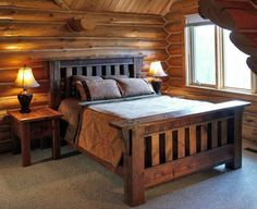 Rustic Wood Bed Frame, maybe make the headboard a tad taller?