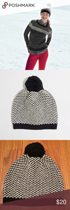 J. Crew Chevron Dot Hat, NWOT J. Crew Factory Chevron Dot Hat, New without tags  -Black, off-white chevron dot pattern -Pom-pom detail adds a fun touch -Wool/acrylic/nylon -From a smoke free / pet free home -Any questions, please ask! J. Crew Accessories Hats