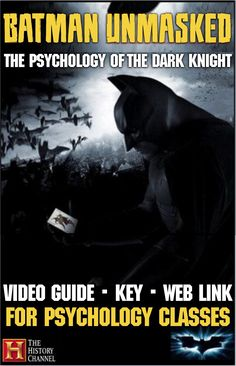 """Batman Unmasked: Psychology of the Dark Knight Video Guide"""" plus video web link is a perfect break from your daily psychology routine. Video guide covers the psyche of the fictional DC character Batman. Doctors, Psychologists and authors exam the characte Psychology Major, School Psychology, Teaching Social Studies, Teaching History, Teaching Tools, Teaching Ideas, Teaching Government, Psych Major, Scare Crow"""