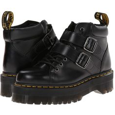 The Bryony Lace Buckle Boot from Dr. Martens® mixes contemporary style and subcultural undertones for a supremely modern look. Eight-eyelet lace-up boot with t…