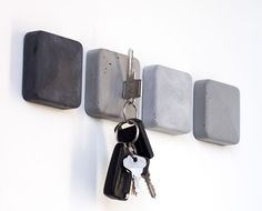 Magnetic Key Holder, Magnetic Lock, Yanko Design, Grande Table A Manger, Shelf System, Modular Shelving, Pin Collection, Cement, Ideas