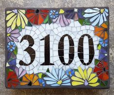 Custom Glass Mosaic Home Address Sign by JoanneDaschel on Etsy Mosaic Wall Art, Mosaic Glass, Stained Glass, Glass Art, Tile Art, Fused Glass, House Number Plaque, House Numbers, Mosaic Projects
