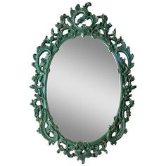 Vintage Baroque Green & Gold Mirror (20,990 INR) ❤ liked on Polyvore featuring home, home decor, mirrors, wall mirrors, gold mirror, green home accessories, lightweight mirror, gold wall mirror and gold home accessories