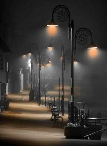 A misty evening along Marne Parade, Lyme Regis