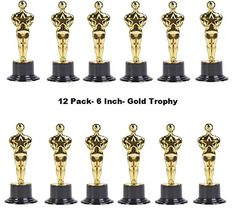 Golden Plastic Trophy - 12 Pack 6 Inch Figure Trophy, Competitions, Awards, Ceremonies, Contests, Parties, Party favors, Props, Rewards, Prizes, Games, School, Field Day, Boys And Girls - Kidsco ** Visit the image link more details.