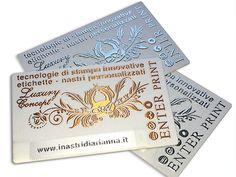 Business card, LUXURY - raso adesivo accoppiato su cartoncino con stampa in rilievo e inserimento nastrino personalizato,