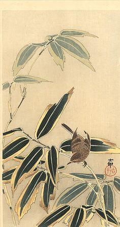 Wheatear and Bamboo - Ohara Koson