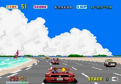 In-game screen of the game Out Run on MAME