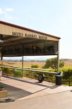 Moto Barrel Room at Doffo Winery #temecula. This family loves vintage motorcycles and making wine.