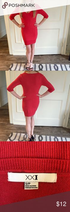 """NWOT XXI Sweater Dress 👗 Super cute sweater dress I never wore. My hips just don't look good anymore and I need to get rid of so many cute things! My loss is your gain! Smoke free home, top seller with lots of ⭐️⭐️⭐️⭐️⭐️ and love notes! (Hand wash cold water, 100% acrylic). I am 5'6"""". Forever 21 Dresses"""