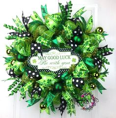 Deco Mesh St Patricks Day Good Luck Wreath in Green and Black Polka Dots by SouthernCharmWreaths #decor #irish #green