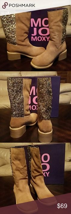 MOJO Moxy..Sequence Boots Size 9 Super cute Womens Palacio Beige Cowboy Boots  They have Size 8 1/2 on boots but they fit like a 9 They were a Christmas gift for my daughter but too big ( she wears 8 1/2) 9 medium  Heel Height-2 inches  Width-Med  Platform Height- 1/4 inches  Shaft Height- 11 inches  Shaft Width- 15 Inches  Fabric- Leather Studded New/ Box Two small scratches on left boot ,hardly noticeable  Retail-129.00 Mojo Moxy Shoes Heeled Boots