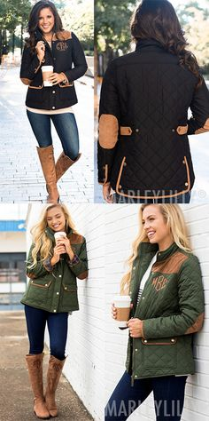 Stay warm and stylish this fall and winter in this quilted coat! This monogrammed jacket features a quilted design with a gold zipper and buttons. Detailed with two roomy front snap pockets, this jacket also features faux suede elbow patches and trim. The sleeve cuffs on this jacket have a trendy plaid pattern for an added touch of prep. This personalized coat will make the perfect outerwear piece for your wardrobe!