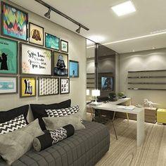 Perfeito pra um quarto de hóspedes + home office. # recria #decor #designdeinteriores #quadros