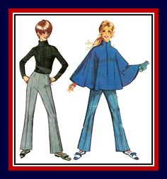 Vintage 1968-MOD GIRL-Sewing Pattern-Stylish Stand–Up Collar Cape-Front Zipper-Hipster Bell Bottom Pants-Breezy Poncho-Uncut-Size 12-Rare by FarfallaDesignStudio on Etsy