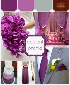 "Pantone Color of the Year 2014 ""Radiant Orchid"" Wedding Inspiration Board Luxe-weddings.com"