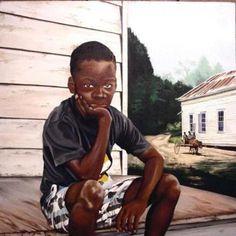 Peinture - Jeune Noir dans l'Amérique rurale