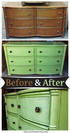 Dresser In Distressed Green Before After Painting Furniturefurniture Projectsbedroom