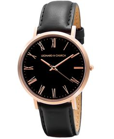 Crosby black faced watch in rosé gold stainless steel and black leather strap from Leonard & Church.