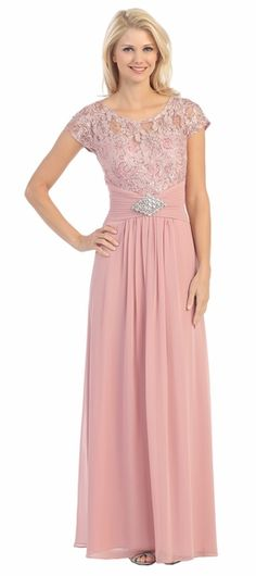 Long Lace Bodice Scoop Neck A Line Dusty Rose Formal Dress