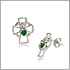 Our Emerald Claddagh Cross Earrings are a wonderful tribute to your Irish faith and Celtic heritage. Shop Emerald Claddagh Cross Earrings and Claddagh Cross Earrings, Shop Emerald Claddagh Cross Jewelry & Pendants & Earrings. Celtic Knot Jewelry, Irish Jewelry, Jewelry Knots, Cross Earrings, Pendant Earrings, Pendant Jewelry, Jewelry Companies, Jewelry Stores, Irish Wedding Rings