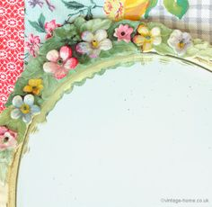 Floral and Pink Ribbon Oval Barbola Mirror.