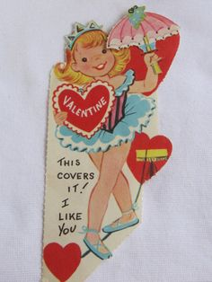 vintage Valentines Day card Tight wire actremoveable by roseluv, $4.00
