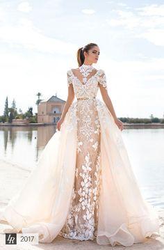 Gorgeous Wedding Dress with Overskirt by Lorenzo Rossi www.elegantwedding.ca