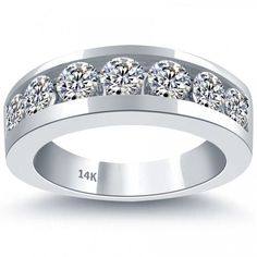 2.10 Carat Natural Diamond Mens Wedding Band Ring 14k White Gold Men Ring