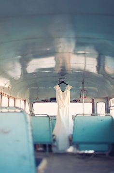 wedding dress in a turquoise buss