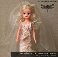 Fairy Wedding Doll. http://creativamentedebora.interfree.it/ Handmade Doll Outfits to fit Silkstone Barbie, Sindy Pedigree, Bibi-bo El Greco and other fashion dolls. Silk, taffeta, organza, tulle and embroidered with glass perls.