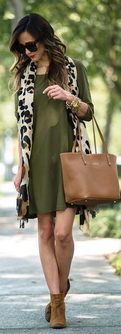 Leith Crepe Trapeze Dress   Vince Camuto Leopard Scarf   Gigi New York Mini Taylor Tote in Saddle Pebbled Leather c/o   Dolce Vita Booties