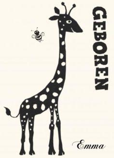 Zwart-wit geboortekaartje meisje giraf silhouet