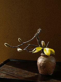 Ikebana by Atsushi, Japan wabi sabi Ikebana Flower Arrangement, Ikebana Arrangements, Floral Arrangements, Flower Petals, Flower Art, Flower Vases, Japanese Flowers, Japanese Art, Wabi Sabi