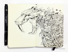 We have in the past compiled a few moleskine sketch articles from an array of different artists with different backgrounds. For this article we are focusing on one, Kerby Rosanes. Kerby hosts a very popular tumblr blog entitled Sketch Stories and has created artwork for fun, puzzles, mugs, posters, t-shirts and various other items. We recommend you pay the website a visit.