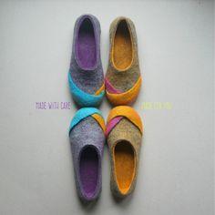 """Frauen-Wollfilz Pantoffeln, Gefilzte Startseite Schuhe, fühlte Pantoffeln, Hausschuhe Eco - """"Multi"""""""