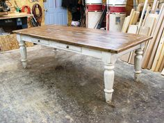 """This is another of our farm style dining tables. It is the most popular table we sell the """"white scrubbed pine farmhouse table"""" . This table is made in pine but we have also made them in cherry and oa"""