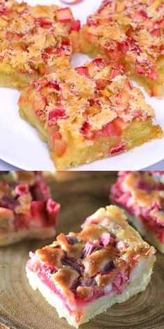 Chicken Enchiladas Discover Rhubarb Dream Bars are a cinch to make and a perfect use of rhubarb fresh or frozen! Summer Dessert Recipes, Easy Desserts, Delicious Desserts, Yummy Food, Rhubarb Desserts Easy, Rhubarb Custard Bars, Rhubarb Kuchen Bars, Rhubarb Oatmeal Bars, Cake
