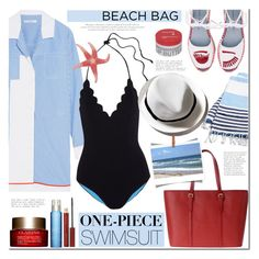 """""""The One-Piece"""" by mada-malureanu ❤ liked on Polyvore featuring Turkish-T, Carven, Chiara Ferragni, Marysia Swim, Clarins, Kevyn Aucoin, Korres and onepieceswimsuit"""