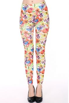 High Waist Multicolor Floral Print Leggings