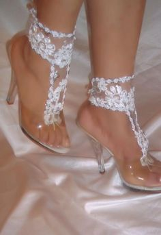 a79db199f9c24 Barefoot Sandals Wedding Sandals White Lace Barefoot