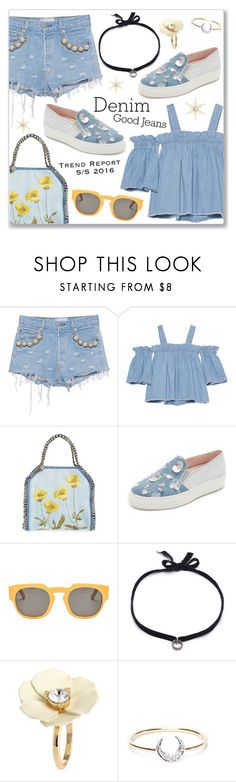 """""""Double Down on Denim"""" by dressedbyrose ❤ liked on Polyvore featuring Forte Couture, SJYP, STELLA McCARTNEY, Minna Parikka, Marni, DANNIJO, I+I and Denimondenim"""
