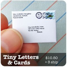 The World's Smallest Post Service creates and sends unique snail mail for you. Send a tiny letter or package from the tooth fairy!