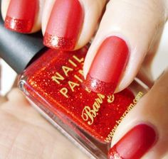 Red matte French nails. See more at http://www.naildesignsforyou.com   http://www.naildesignsforyou.com/red-nail-designs-art/ #nailart #naildesigns #nails #rednails #rednaildesigns #rednailart