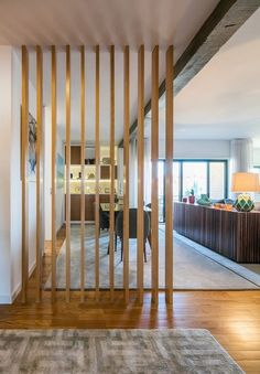 35 Inspirations of Wall Partitions for Home – House The Design Room Divider Walls, Diy Room Divider, House Columns, House Stairs, Room Partition Designs, Wood Partition, Wooden Room, Home Interior Design, Building A House