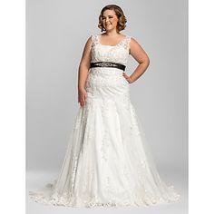 Lanting+Bride+Trumpet/Mermaid+Petite+/+Plus+Sizes+Wedding+Dress-Court+Train+Straps+Lace+–+USD+$+179.99