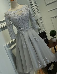 Lace Homecoming Dresses, Long Sleeve Homecoming Dresses, Vantage Organza Homecoming Dresses